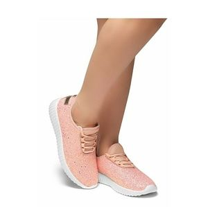 Rose Gold Glitter Detailed Sneakers